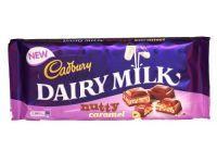 - Cadbury Dairy Milk Nutty Caramel Cadbury Dairy Milk with a nutty caramel filled centre. Cadbury Chocolate, Chocolate Orange, Daily Milk, Cadbury Dairy Milk, Snickers Bar, Beautiful Birds, Chocolates, Health And Beauty, Centre