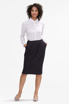 The Williamsburg Skirt—Wool Stripe - Navy / White The Girl Who, Work Fashion, Navy And White, Work Wear, High Waisted Skirt, Dresses For Work, Wool, Stylish, Skirts