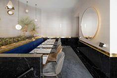 Round Mirror - Polished Brass - Modern Finish - Paris Restaurant - Hospitality Design - Glam Style