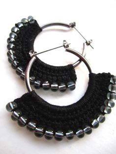 Crocheted Hoops with beads in black and grey