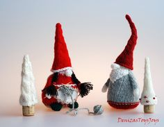 Сouple of Gnomes.The finished Boy gnome - finished Girl gnome is approximately tall.Materials needed Pin Weaving, Girl Gnome, Knitting Patterns, Crochet Patterns, Christmas Gnome, Yarn Needle, Red And Grey, Diy Toys, Gnomes