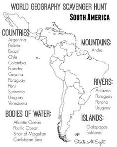 World Geography Scavenger Hunt: South America ~ FREE Printable World Geography Scavenger Hunt Printable South America from Starts At Eight Geography Activities, Geography For Kids, Geography Map, Geography Lessons, Teaching Geography, Human Geography, Teaching History, 5th Grade Geography, Continents Activities