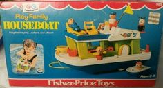 Fisher Price Play Family Houseboat / w/Box and accessories Excellent Fisher Price Toys, Vintage Fisher Price, Retro Toys, Vintage Toys, Vintage Stuff, 1980s Childhood, Childhood Memories, 80 Cartoons, Retro Advertising