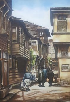 Landscape Drawings, Landscape Art, Turkish Art, Wood Burning Art, Arabic Art, City Art, Art Studies, Abstract Photography, Pyrography