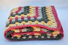 Pink and grey owl crochet baby blanket granny by ValkinThreads2
