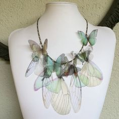 I Will Fly Away - Handmade Teal and Ivory Silk Organza Butterflies and Wings Necklace - One of a Kind