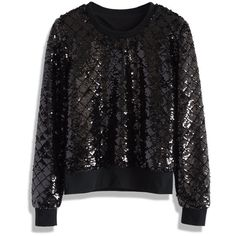 Chicwish Sequins Glow on Black Jumper ($51) ❤ liked on Polyvore featuring tops, sweaters, black, black jumper, black top, black sweater, black cotton sweater and sequin sweater
