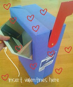 Adorable Valentine's mailbox! Made with a shoebox. :)