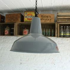 Vintage Large Grey Enamel Industrial Pendant Light