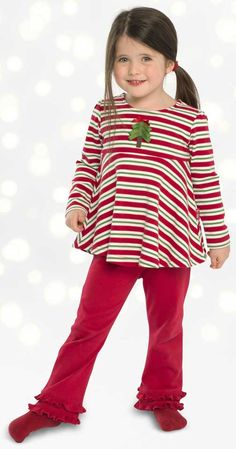 9e986c127cf5e3 Le Top Girls Red   Green Striped Flared Christmas Tree Top with Red Pants