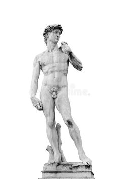 Photo about The replica of David, statue by Michelangelo isolated on white background. Picture is taken in the Piazza della Signoria in Florence, Italy. Image of body, statue, nude - 93781684 Guy Drawing, Drawing Poses, Figure Drawing, Roman Sculpture, Sculpture Art, Photo Statue, Michael Lang, Angel Garden Statues, Raphael Angel