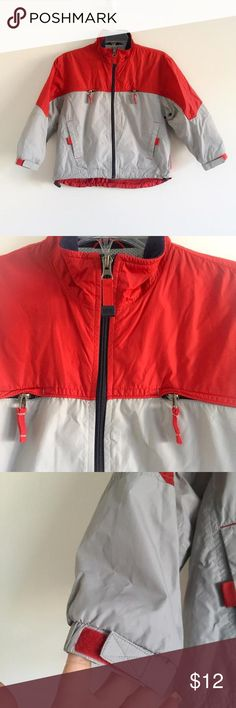 GAP RED AND GRAY WINDBREAKER This jacket it's light and perfect for soccer practice . Gray with red, the collar has some blue fleece. It has a mesh lining. It's perfect for the spring or early fall, or a chilly night at the lake. It's in GUC it had some minor faint spots that I will try to get by washing. Then the price will go up if the come uff. It has some minimal pull in the mesh you can see them in the picture. It also has my kids last name written by the tag. 👻 BUNDLE AND SAVE MORE 👻…