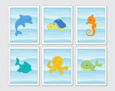 Animales del mar de la pared arte los niños por LovelyFaceDesigns