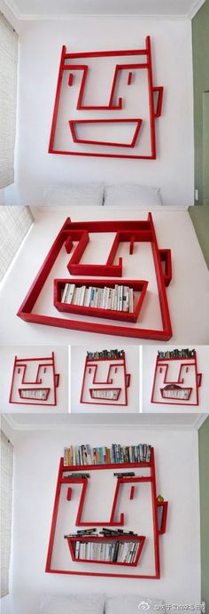 **At first glance, I thought this was made from paper (couldn't see the books too clearly) but now I see it's a book shelf.  However, it's given me a great idea for an art project so I'm pinning it here.  Great idea of kid's #bookcase #DIY