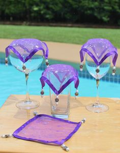Wine Glass Covers Purple with Silver Stars by AczarsDesign on Etsy