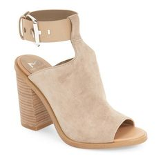 """Marc Fischer LTD 'Vashi' Ankle Strap Sandal, 4 1/2"""" heel (215 AUD) ❤ liked on Polyvore featuring shoes, sandals, tan suede, genuine leather shoes, high heel shoes, high heel sandals, chunky high heel sandals and ankle tie sandals"""
