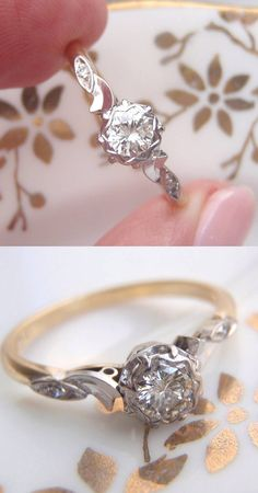 Unique Vintage Diamond Engagement Ring.