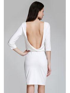 Open Back 3/4 Sleeve Bodycon Dress WHITE: Bodycon Dresses | ZAFUL