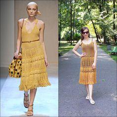 Honey crochet dress inspired by Salvatore Ferragamo.