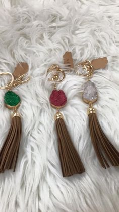 Stoned tassel key chains