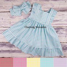 Summer Picnic Heirloom Flutter Sleeve Dress - Baby Toddler Girl Easter Dress, Spring Dress, Party Dress - 5 Gingham Colors - Charming Necessities