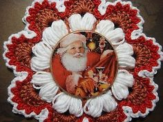 Crochet Flower & Beautiful Santa Design Wood Button for Scrapbooks & Cards ByDeb