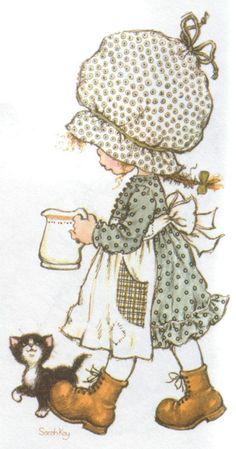 Holly Hobbie by Sarah Kay                                                                                                                                                                                 Más Sarah Key, Holly Hobbie, Sara Key Imagenes, Retro, Illustrations, Cute Illustration, Vintage Cards, Vintage Children, Cute Art