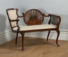 ~ English Edwardian Mahogany Marquetry Inlaid Two-seat Window Couch, ca. 1900 ~ antiques-atlas.com
