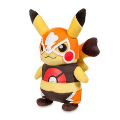 Official Cosplay Pikachu Libre Poké Plush. This plush features a wrestling-inspired cosplay look, with wrestler's mask and tights. Pokémon Center Original design.