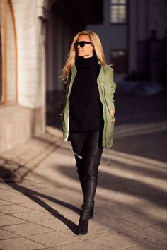 Sofi Fahrman. Love this black outfit with the green jacket