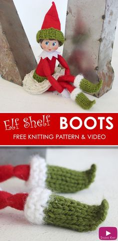 Elf on the Shelf Knitted Boots - Free Knitting Pattern + Video Tutorial with Studio Knit for Elf on the Shelf Dolls via @StudioKnit