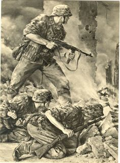 waffen ss 1943 painting by will Tschech Military Photos, Military Art, Military History, Frank Dicksee, Art Of Fighting, German Uniforms, Rare Images, War Photography, German Army