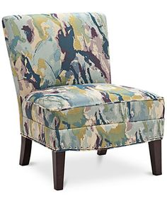 Coryn Watercolor Fabric Accent Chair, Direct Ship