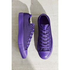 Converse Chuck Taylor All Star Nylon Monotone Sneaker ($55) ❤ liked on Polyvore featuring shoes, sneakers, purple, converse sneakers, converse footwear, purple sneakers, purple shoes and nylon shoes