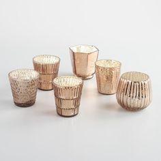 Warm Bronze Mercury Glass Votive Candleholders Set of 6