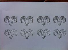 Geometric and minimalistic tattoo concept of aries/ram