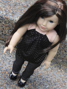 AG Doll Handmade Shimmer Skinny Jeans and Beaded Halter