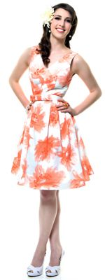 Coral Chic Floral Pleated Reproduction Swing Dress