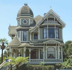 I would give up ALL my tiny home dreams to live in a gorgeous Queen Anne with a tower! Queen Anne home in Alameda, California designed by the prolific American architect George F. Victorian Architecture, Beautiful Architecture, Beautiful Buildings, Beautiful Homes, Classical Architecture, Victorian Style Homes, Victorian Houses, Victorian Interiors, Victorian Buildings
