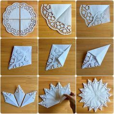 Fresh breeze: window stars made of lace paper- Frische Brise: Fenstersterne aus Spitzenpapier Fresh breeze: window stars made of lace paper - Doilies Crafts, Paper Doilies, Paper Lace, Diy Paper, Paper Flowers, Paper Crafting, Origami Flowers, Snowflakes Art, Snowflake Craft