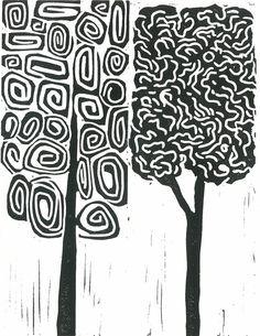 MOD TREES 1 Linocut Print Black & White Print Modern
