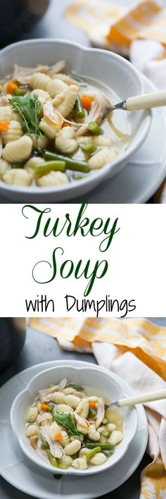 This turkey soup recipe is so easy especially as it uses leftover turkey!  Fill this soup with your favorite veggies and add frozen gnocchi as the dumplings! #leftovers #Thanksgiving #soup #comfortfood via @Lemonsforlulu