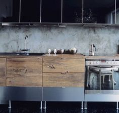 Grey + wooden kitchen