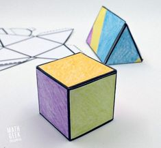 This easy to use printable set of foldable shapes can be used for all sorts of math learning! Plus, let kids get creative and turn it into a math and art lesson in one! 2d And 3d Shapes, Shapes For Kids, 3 Dimensional Shapes, Printable Shapes, Math Art, Art Lessons, Free Printables, School Projects, School Ideas