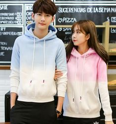Couple Outfit asian Fashion couple gradient color hooded fleece from Asian Cute {Kawaii Clothing} Fashion Couple Gradient Color Hooded Fleece *Discount code: PastelGothling off your purchase! Japanese Couple, Korean Couple, Matching Couple Outfits, Matching Couples, Romantic Couples, Cute Couples, Family Outfits, Cute Outfits, Korean Summer