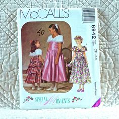 6942 McCALLS Uncut PATTERN 1994 Flower Girl Sleeveless Dress Fitted Bodice Low Waist Capelet Collar Ruffled Back Tiers Size 4 5 6 3-oz