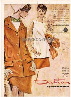 1960s Fashion Illustration Womens 3-Piece Suit, Dalton Double-Knit Wool, Tan Fall Winter Fashion, Vintage Magazine Print Ad