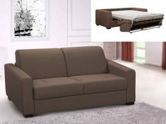 AMYR fabric three seater express sofa bed - Camel brown