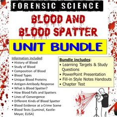 This bundle includes all products from my Forensic Science Blood and Blood Spatter Unit.This bundle includes:• Learning Targets and Study Questions• PowerPoint Presentation• Fill-in Style Notes Handouts• Chapter Test*Vocabulary Assignment is sold separately in the Forensic Science Vocabulary Bundle. Science Vocabulary, Science Resources, Learning Targets, Forensic Science, Blood Test, Forensics, No Response, Fill, Presentation