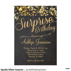 Shop Sparkle Glitter Surprise Birthday Invitation created by AshPartyInspiration. Glitter Birthday Parties, Adult Birthday Party, Birthday Ideas, Glitter Party, 50th Party, Gold Party, Birthday Pictures, Party Party, Birthday Celebration
